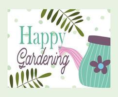 feliz jardinagem, regador folhas ramos, pontos banner de fundo vetor
