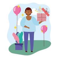 jovem com caixa de presente aberta e festa de balões vetor