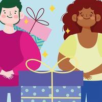 desenho animado jovem casal com presentes embrulhados vetor