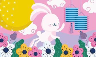 feliz festival do meio do outono, lindas lanternas de coelho, flores, decoração da lua, bênçãos e felicidade vetor