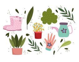 jardinagem, vasos de plantas regador, botas e folhas de luvas vetor