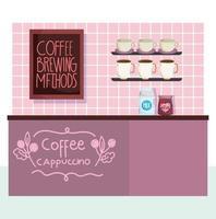 métodos de preparo do café, balcão com embalagens de leite, xícaras de café e tábua vetor