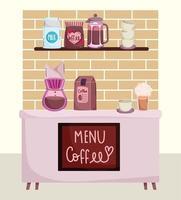 métodos de preparação de café, máquina de gotejamento balcão de cafeteria embalagem frappe e xícara vetor