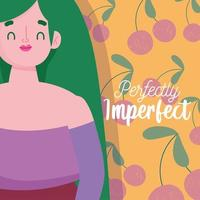 perfeitamente imperfeito, personagem de desenho animado plus size, cartão de fundo de frutas vetor