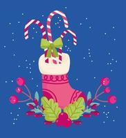 Feliz natal, lotando com doces, cana-azevinho, baga, cartão comemorativo vetor