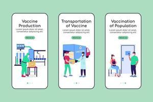 modelo de vetor plano de tela de aplicativo móvel integrado fabricação de vacina