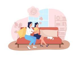 mãe apoiar filha adolescente triste ilustração vetorial 2d vetor