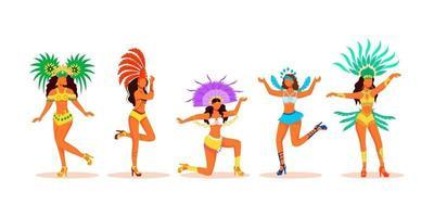 dançarinos de carnaval de brasil conjunto de caracteres sem rosto de vetor de cor plana. senhoras latinas em fantasias de carnaval. mulheres em trajes festivos com cocar extravagantes ilustrações de desenhos animados em fundo branco