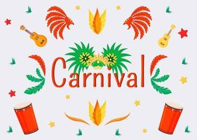 modelo de vetor plana de banner de carnaval. projeto de conceito de brochura com ilustrações de desenhos animados. máscara de máscara e coroas. folheto horizontal de instrumentos musicais, folheto com texto