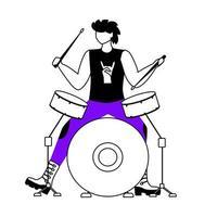 ilustração em vetor contorno plana baterista. tocador de bateria. músico. membro da banda de música punk. rock and roll. homem com instrumento musical. show. personagem de contorno de desenho animado isolado em branco. desenho simples