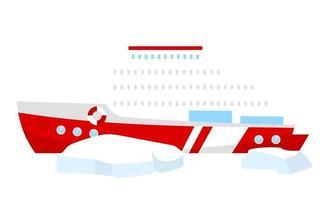 ilustração em vetor barco cor plana. quebra-gelo com blocos de gelo. transporte náutico. embarcação marítima para expedição norte. transmissão marítima. navio objeto de desenho animado isolado em fundo branco