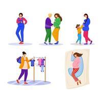 conjunto de ilustrações vetoriais plana de gravidez. maternidade, preparação e expectativa. mulheres jovens esperando por personagens de desenhos animados isolados de bebês em fundo branco vetor