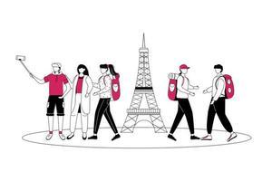 fim de semana em ilustração vetorial de contorno plana de paris. viajando para a França isolado personagem de contorno de desenho animado em fundo branco. turista em viagem. turismo na europa desenho simples vetor