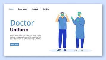 modelo de vetor de página de destino uniforme médico. ideia de interface de site de casaco, máscara e bonés de médico com ilustrações simples. cirurgião, layout da página inicial do médico. banner da web clínica, conceito de desenho de página da web