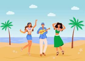ilustração em vetor cor lisa festa na praia. mulheres com roupas de verão. celebração étnica. homem em pé tocando cavaquinho personagens de desenhos animados 2d com praia e palmas das mãos no fundo