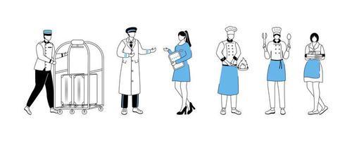 ilustração em vetor plana trabalhadores do hotel. carregador com carrinho de bagagem, gerente do resort. porteiros, chefs com utensílios de cozinha. empregada doméstica, atendente de quarto. personagem de desenho animado de material de serviço com contorno em branco