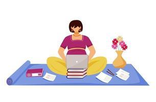mulher grávida trabalhando em ilustração vetorial plana de laptop. jovem freelancer preparando relatório durante a gravidez, sentada no chão, personagem de desenho animado em fundo branco vetor