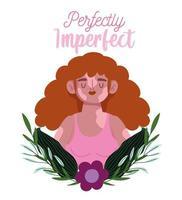 perfeitamente imperfeito, linda mulher sorridente com vitiligo, decoração com folhas de flores vetor