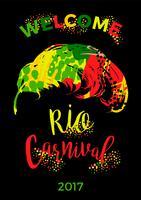 Carnaval do Rio design de letras com pena de sorteio de mão.