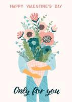 Buquê de ilustração de flores. Conceito de design de vetor para dia dos namorados