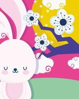 feliz festival de meados do outono, desenho de lua de árvore de flores de coelho, bênçãos e felicidade vetor
