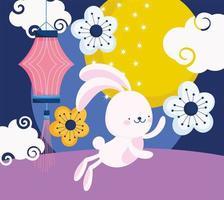 feliz festival de meados de outono, coelho fofo lanterna chinesa flores decoração de lua, bênçãos e felicidade vetor