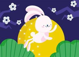 feliz festival de meados do outono, desenho de coelho fofo com flores de lua cheia, bênçãos e felicidade vetor