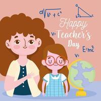 feliz dia dos professores, professora morena e aluna com o globo escolar vetor