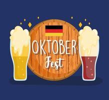festival oktoberfest, chope com espuma, celebração tradicional alemanha vetor
