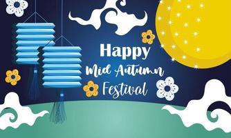feliz festival de meados do outono, decoração de flores de lanternas chinesas bênçãos e felicidade vetor
