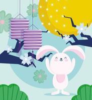 feliz festival do meio do outono, coelhinho flui bênçãos e felicidade da lanterna da árvore vetor