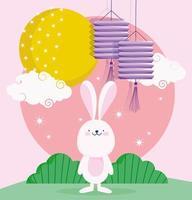 feliz festival de meados do outono, desenho de nuvens da lua com lanternas de coelho, bênçãos e felicidade vetor