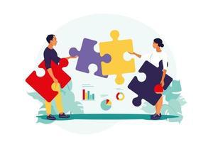 Solução de problemas. decisão criativa, conceito de tarefa difícil. homem e mulher, montagem de quebra-cabeça. cooperação e trabalho em equipe. ilustração vetorial. apartamento. vetor