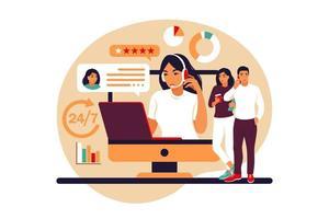 conceito de serviço ao cliente. mulher com fones de ouvido e microfone com laptop. suporte, assistência, central de atendimento. ilustração vetorial. estilo plano vetor