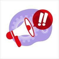 atração de atenção, anúncio importante ou conceito de aviso. notícias. alto-falante, megafone. ilustração vetorial. apartamento. vetor