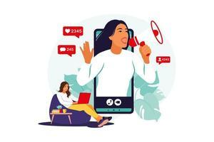 blogueiro com alto-falantes anunciando novidades, atraindo público-alvo. marketing, promoção, conceito de comunicação. ilustração vetorial. apartamento. vetor