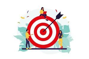 equipe de negócios atingindo a meta. conceito de estratégia de marketing. pessoas perto de grande alvo com flecha. ilustração vetorial. apartamento isolado. vetor