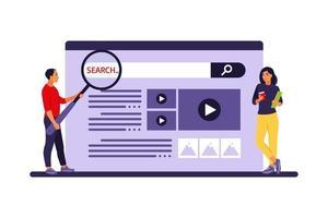 pessoas procurando informações. conceito de pesquisa na web. ilustração vetorial. apartamento. vetor
