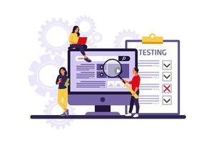 pessoas testando software corrigindo bugs no dispositivo de hardware. teste de aplicativo e conceito de serviço de TI. ilustração vetorial. apartamento vetor