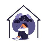violência doméstica contra o conceito de mulheres. mulher senta-se sozinha em casa sob uma nuvem chuvosa de tempestade. ela abraça seu corpo com dor. apartamento. vetor