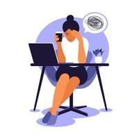 síndrome de burnout profissional. trabalhador frustrado, problemas de saúde mental. ilustração vetorial em estilo simples. vetor