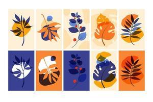 conjunto de composições com folhas. colagem trendy para design em estilo ecológico. ilustrações vetoriais para design de cartão postal ou brochura. apartamento. vetor