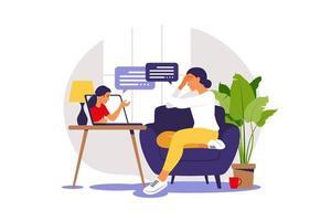 terapia e aconselhamento online sob estresse e depressão. psicoterapeuta jovem apóia mulheres com problemas psicológicos. ilustração vetorial vetor
