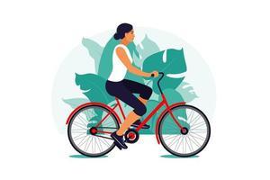 mulher de bicicleta no parque. conceito de estilo de vida saudável. treinamento esportivo. ginástica. ilustração vetorial. apartamento. vetor
