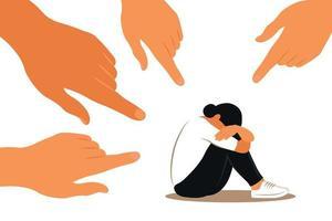 conceito de bullying. mãos de pessoas apontam para a garota. mulher não confiante. opinião e a pressão da sociedade. vergonha. apartamento de vetor