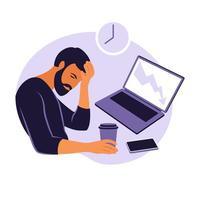 síndrome de burnout profissional. ilustração trabalhador de escritório cansado sentado à mesa. trabalhador frustrado, problemas de saúde mental. ilustração do vetor no apartamento.
