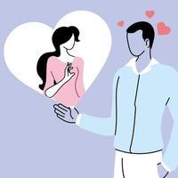 homem em dúvida pensa em homem apaixonado, mulher dentro do balão de pensamento vetor
