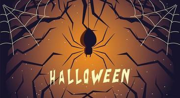 cartão de halloween com aranha na noite escura vetor