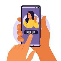 mãos segurando um smartphone com um perfil de mídia social de mulher ou conta de usuário. indique um amigo, seguindo o conceito para adicionar. ilustração vetorial. apartamento. vetor