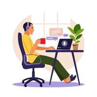 um homem usa fones de ouvido e ouve um podcast sobre educação em seu laptop. ilustração do vetor de podcast.